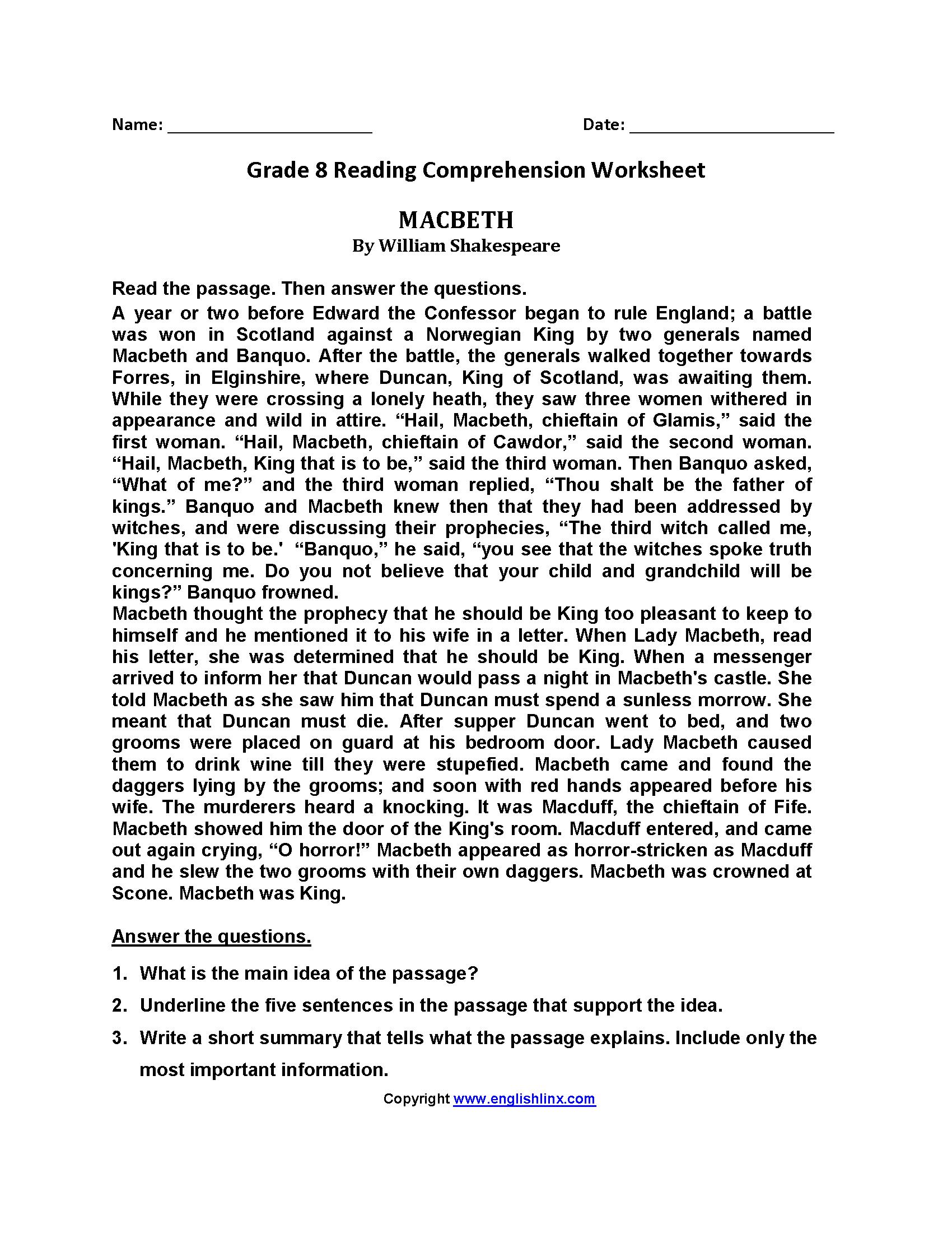- Reading Worksheets Eighth Grade Reading Worksheets