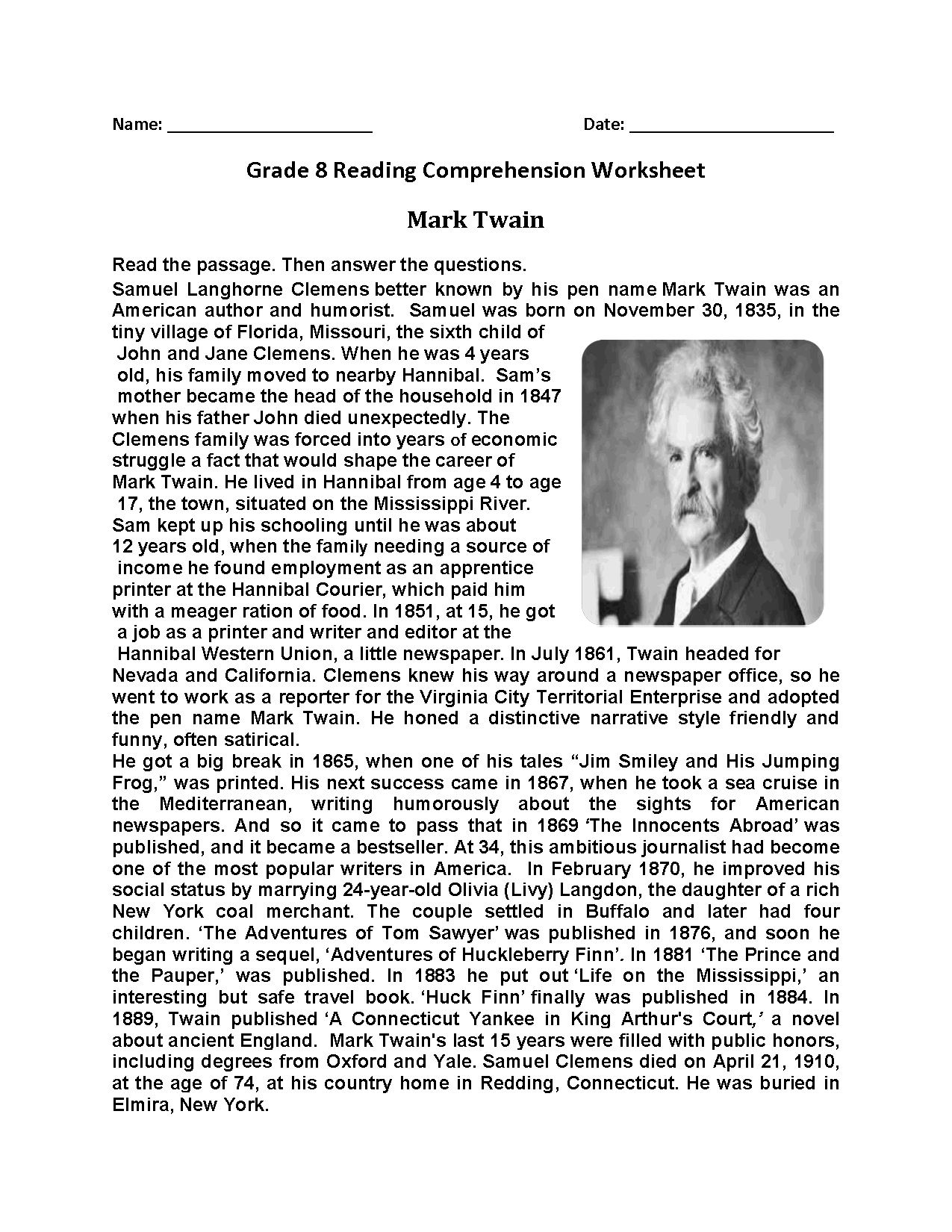 Reading Worksheets | Eighth Grade Reading Worksheets