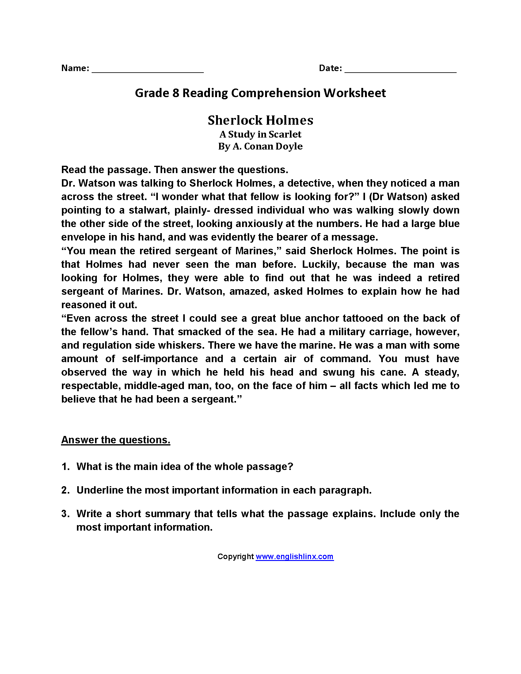 worksheet Free Comprehension Worksheets For Grade 3 reading worksheets eighth grade worksheets