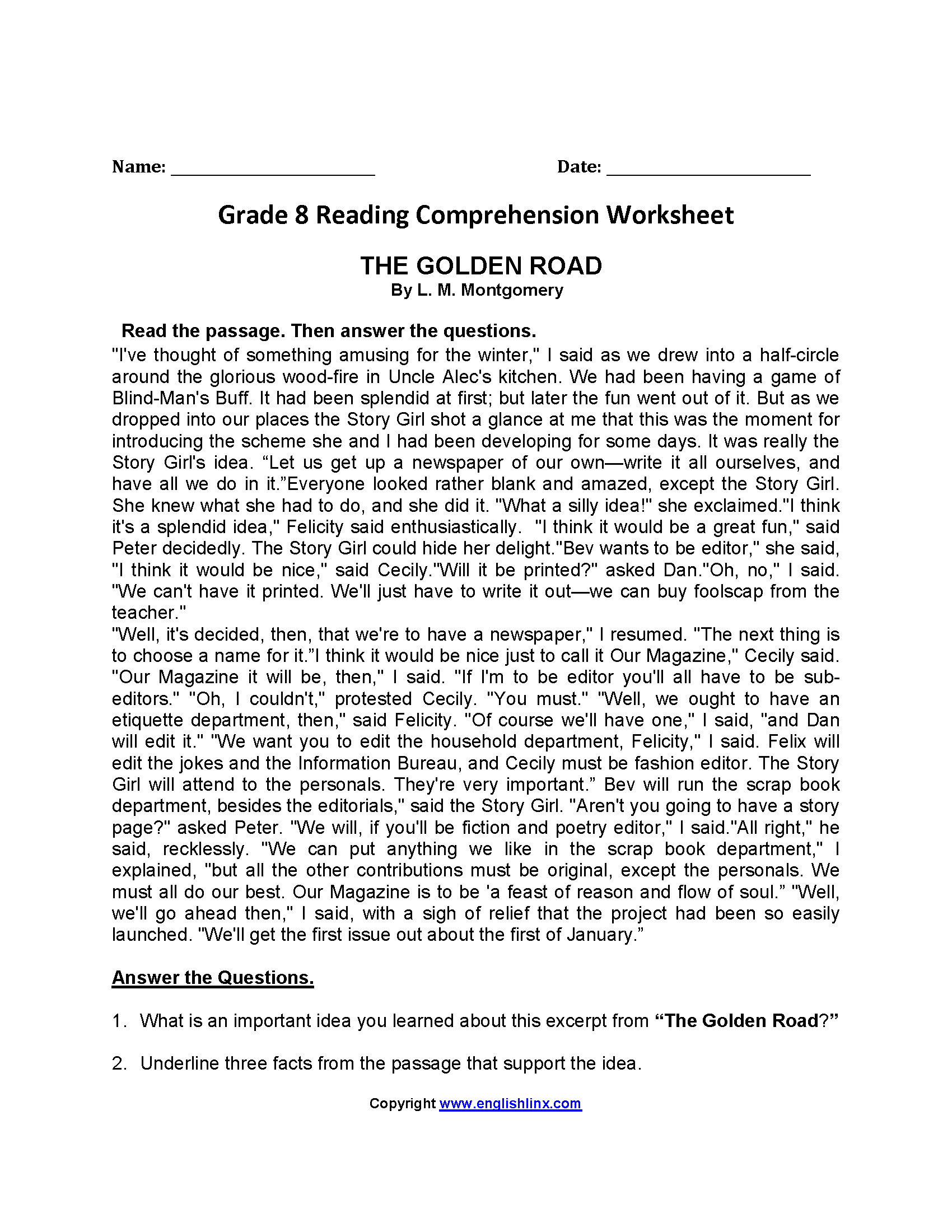 Reading Worksheets – 8th Grade Reading Worksheets