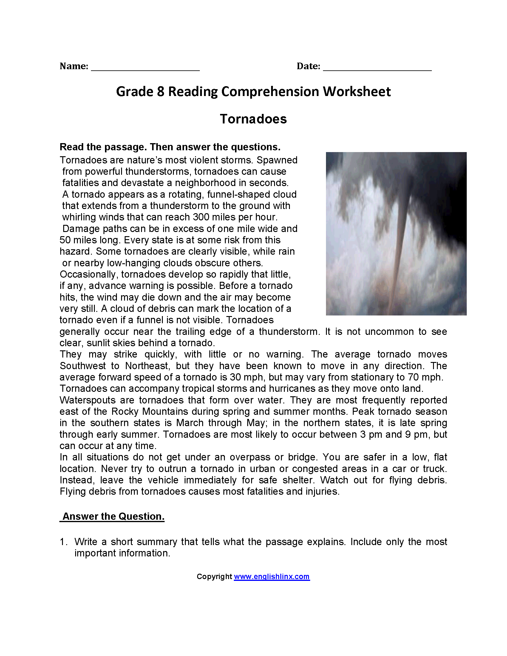Reading Worksheets – Free Printable 7th Grade Reading Comprehension Worksheets