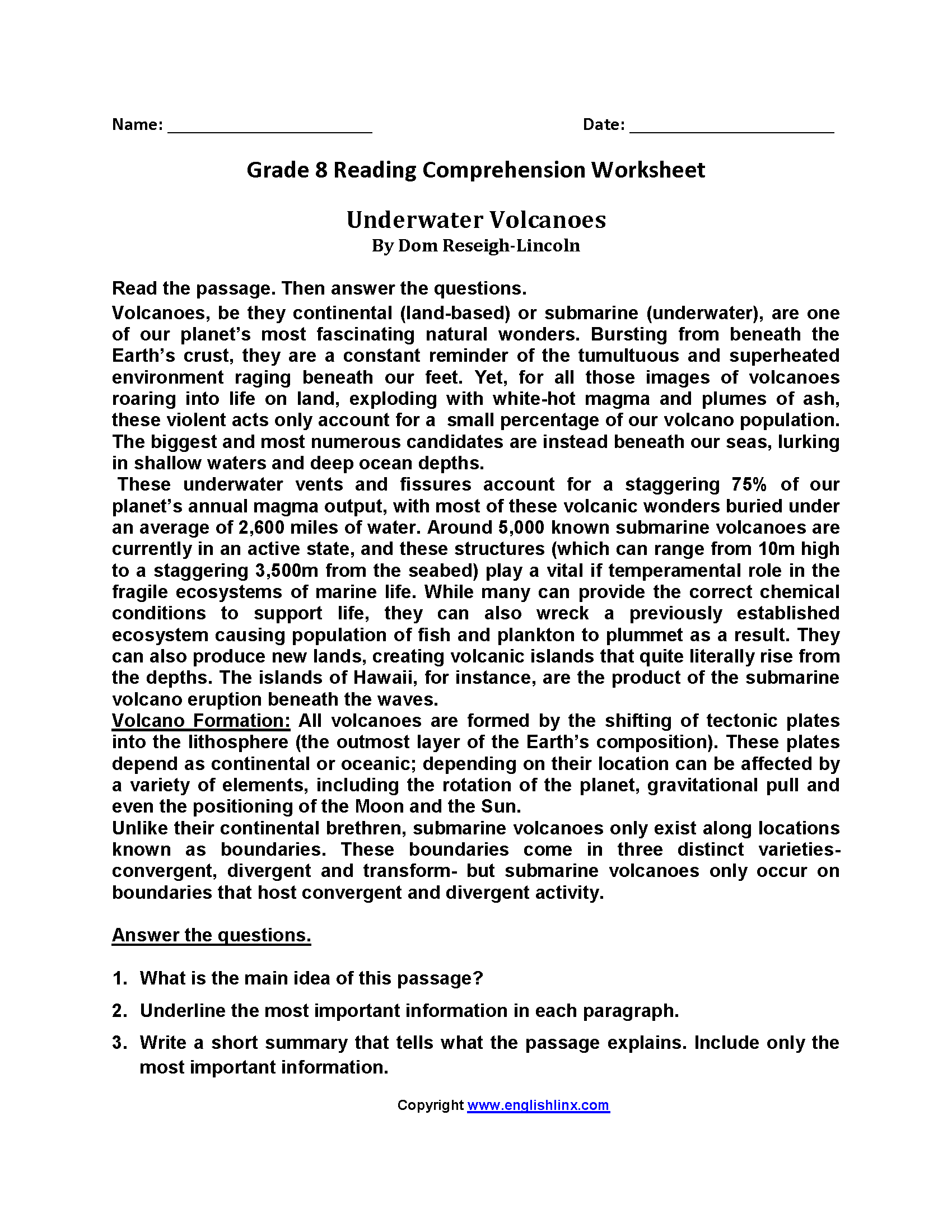 Worksheets Reading Comprehension Worksheets 8th Grade english worksheets reading eighth grade worksheets