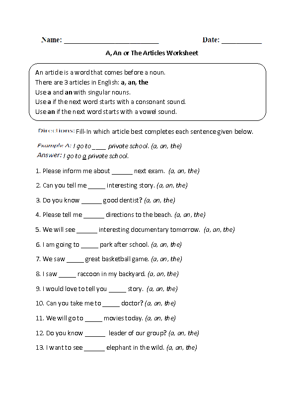 A,An or The Articles Worksheet