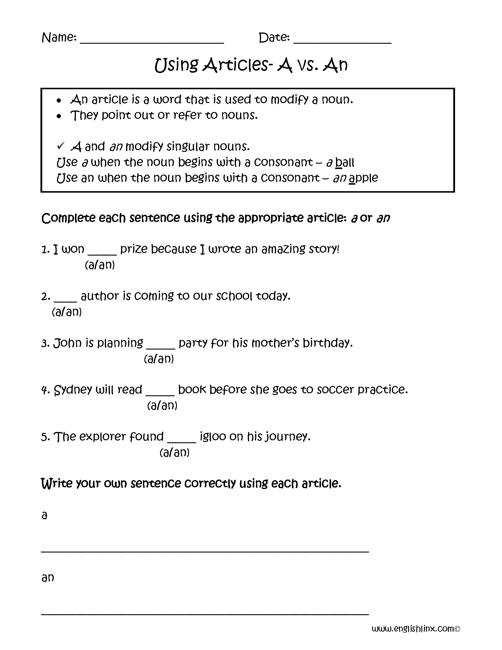 A vs. An Articles Worksheets