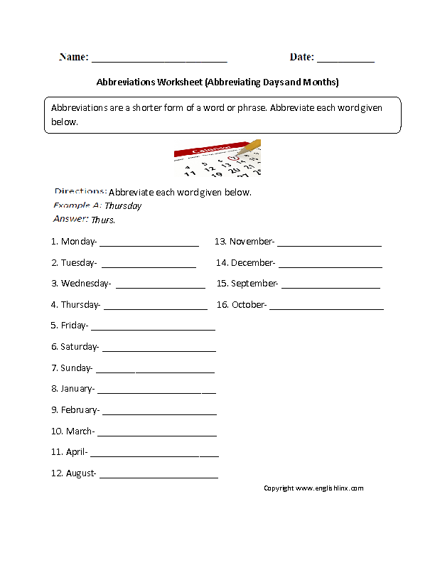Printable Worksheets days of the week and months of the year worksheets : Abbreviations Worksheets   Abbreviating Days and Months Worksheet