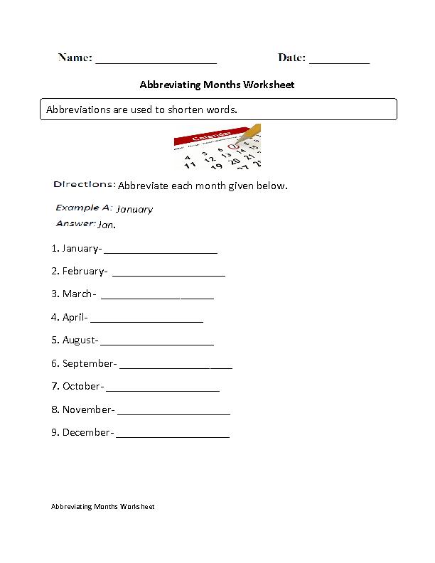 Abbreviations Worksheets | Abbreviating Months Worksheet