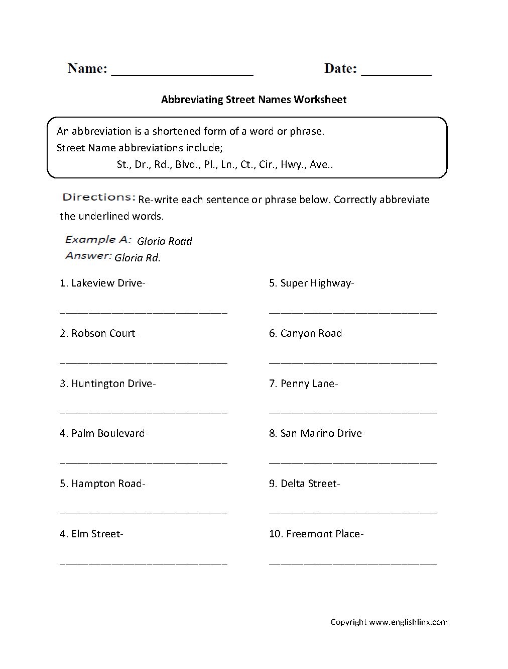 Abbreviating Street Names Worksheet