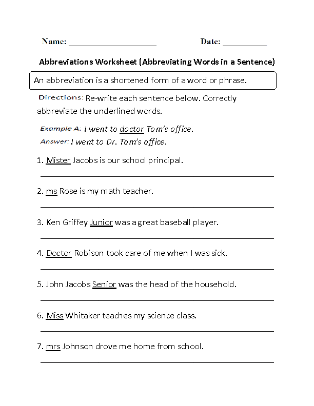Worksheets Abbreviation Worksheets englishlinx com abbreviations worksheets in a sentence worksheet