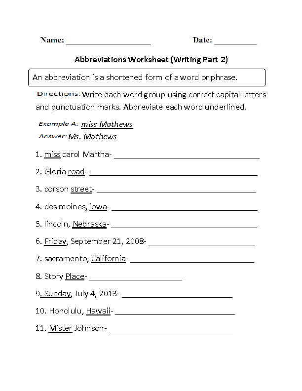 Worksheets Abbreviation Worksheets englishlinx com abbreviations worksheets writing with worksheet part 2