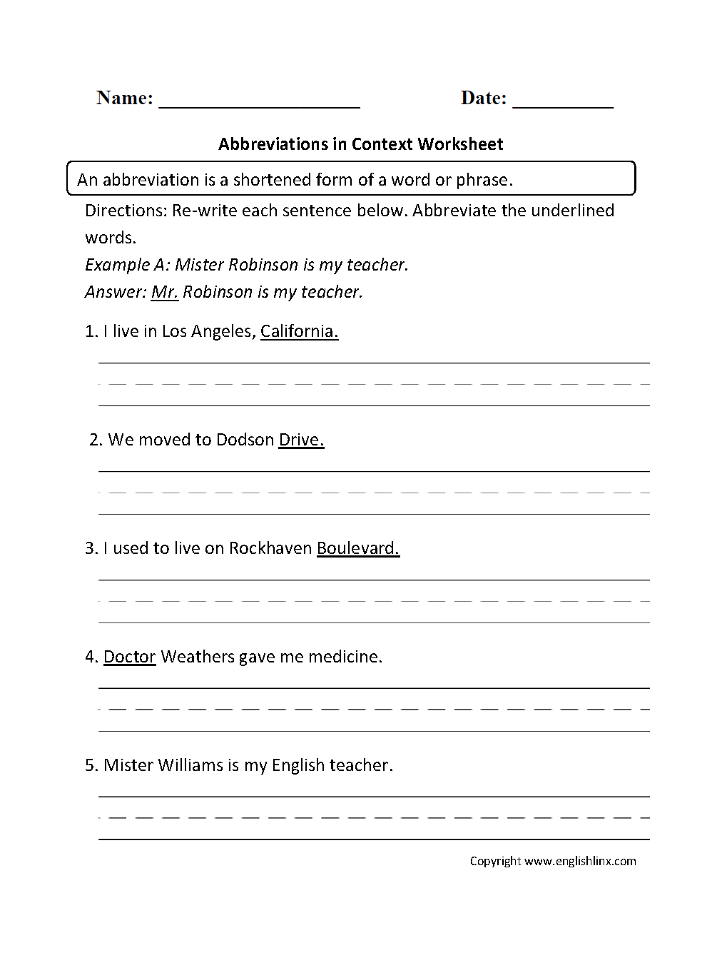 worksheet Abbreviations Worksheets englishlinx com abbreviations worksheets in context worksheet