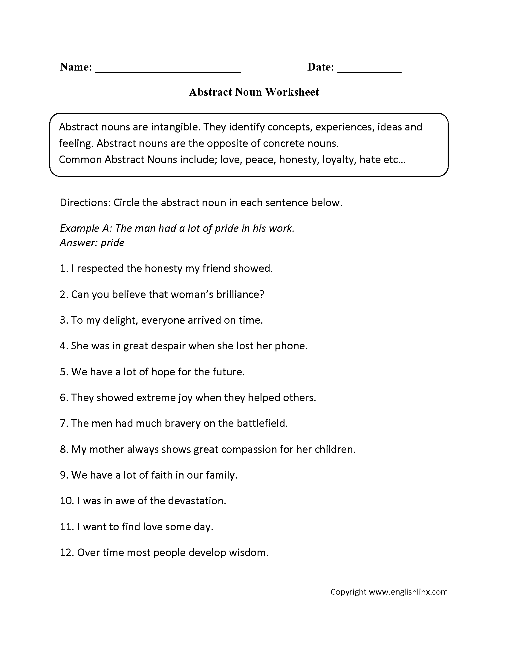 worksheet Abstract And Concrete Nouns Worksheets parts speech worksheets noun intermediate worksheets
