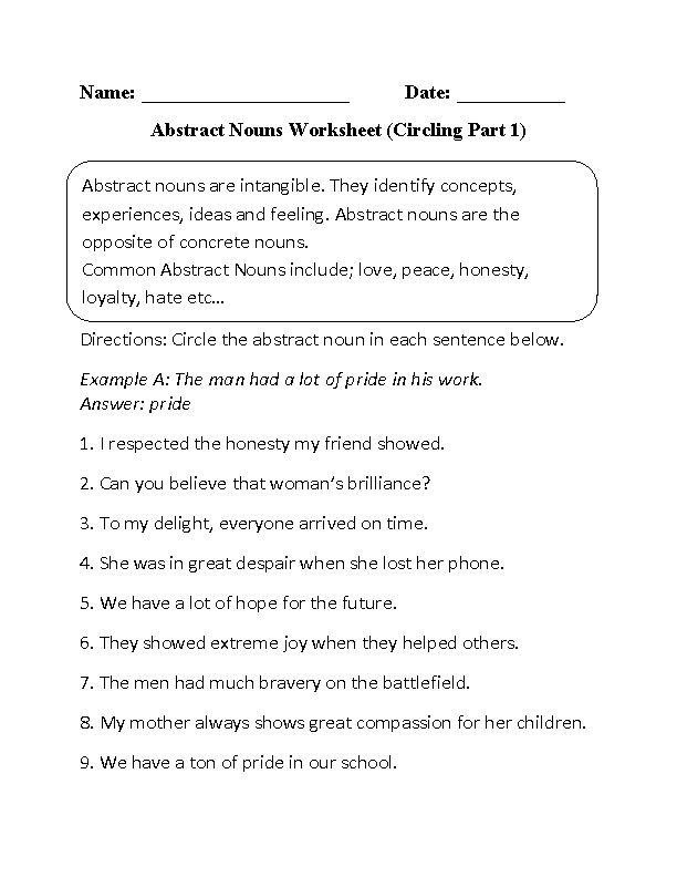 Printables Nouns Worksheet englishlinx com nouns worksheets abstract worksheets