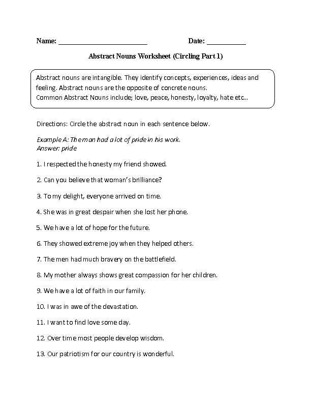Nouns Worksheets Abstract. Abstract Nouns Worksheet. Printable. Noun Printable Worksheets At Mspartners.co