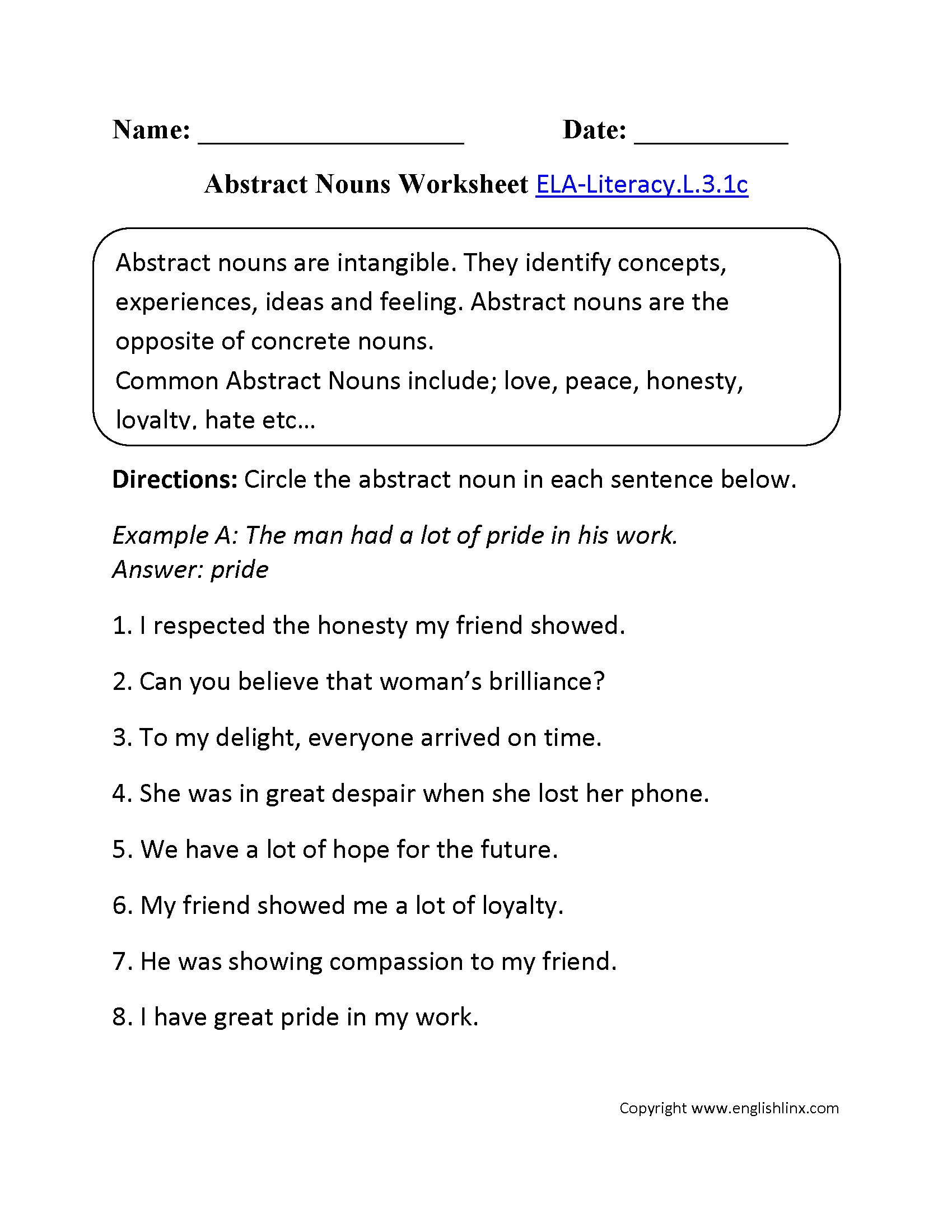 Abstract Nouns Worksheet 1 ELA-Literacy.L.3.1c Language Worksheet
