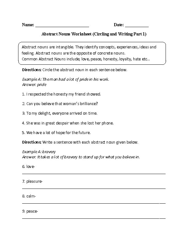 Worksheet 4th Grade Noun Worksheets nouns worksheets abstract worksheet