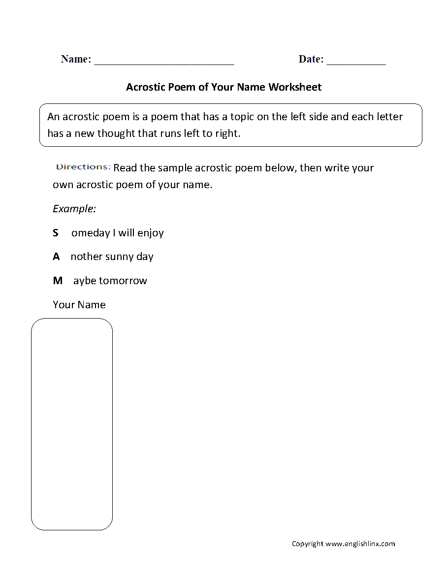 Poetry Worksheets Acrostic Poem Of Your Name Worksheet