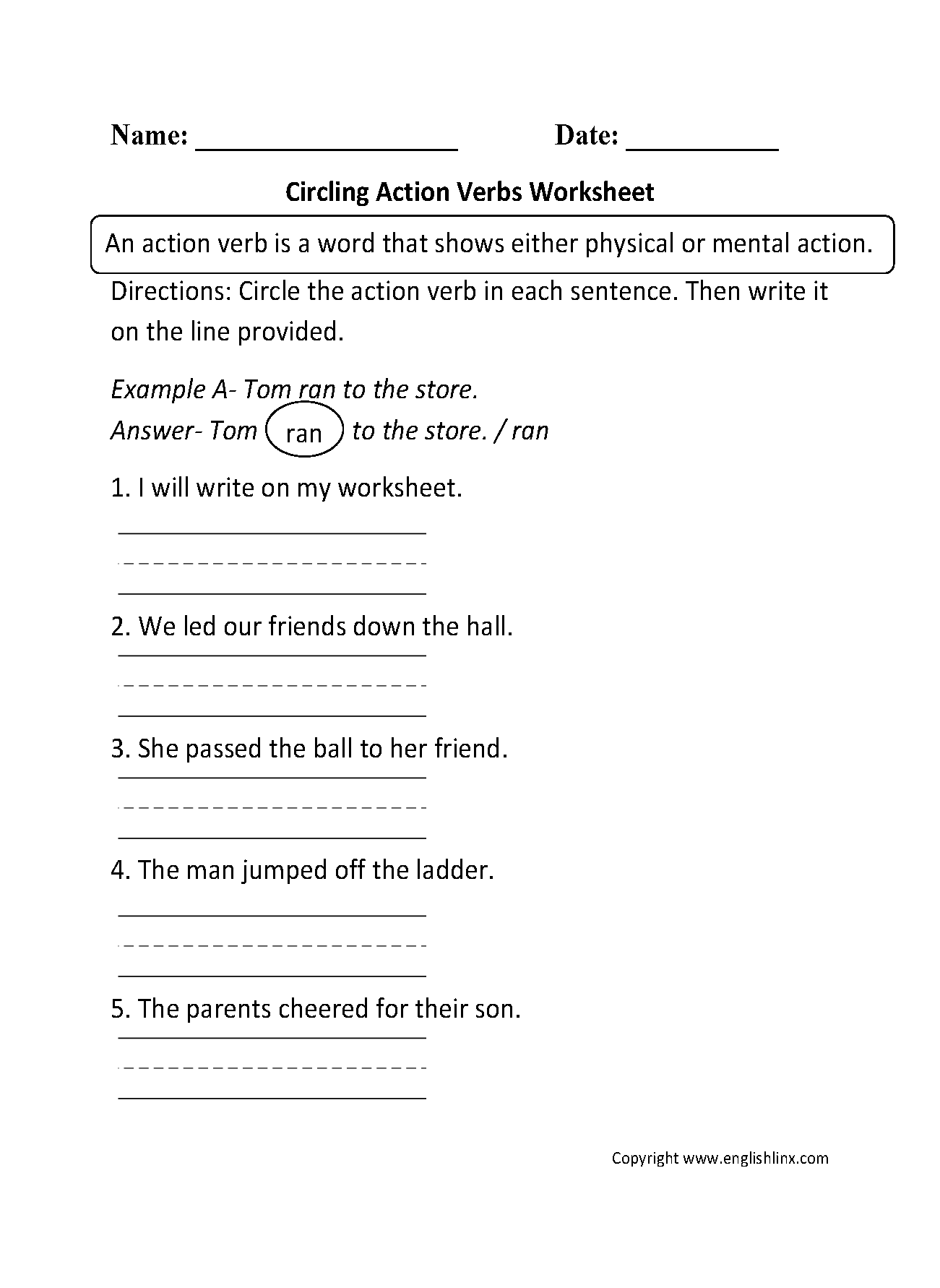 Worksheets Example Of Verbs In Sentence verbs worksheets action worksheets