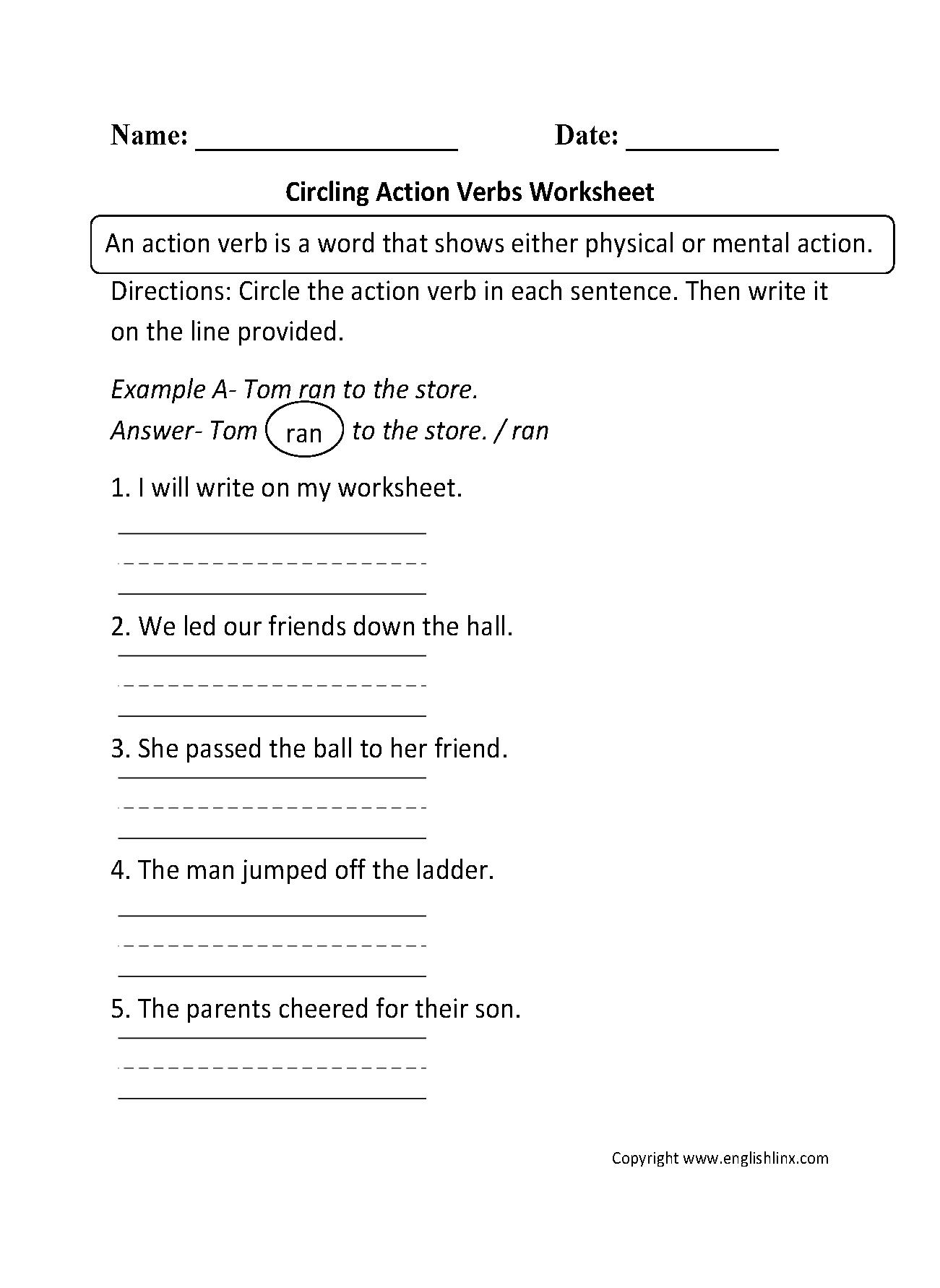 Action Verbs Worksheets Circling Action Verbs Worksheet [ 1782 x 1301 Pixel ]