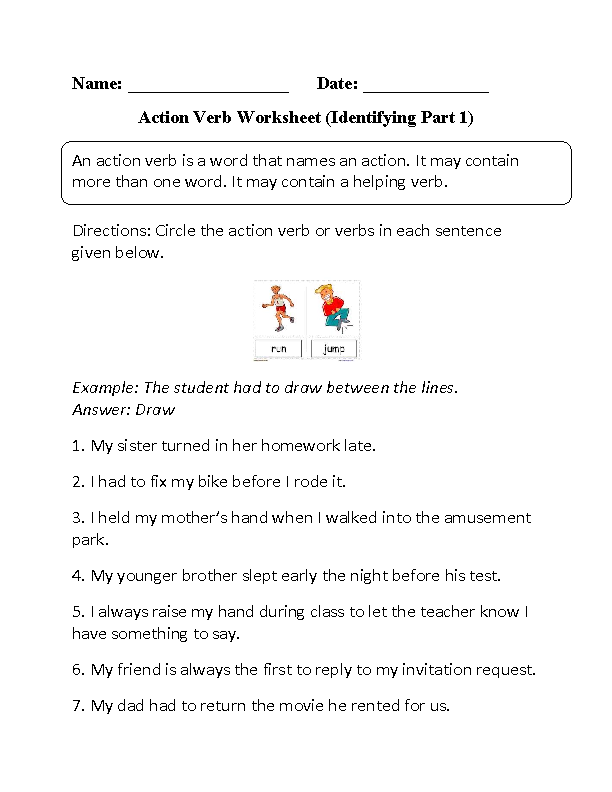 Action Verbs Worksheets Identifying Action Verbs Worksheet Part 1