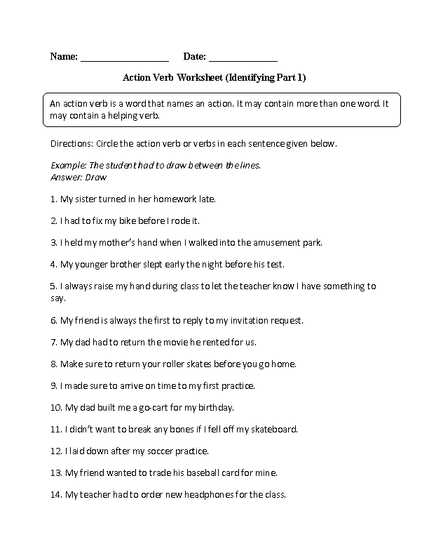 Action Verbs Worksheets Identifying Worksheet. Action Verbs Worksheet. Worksheet. Verbs And Adverbs Worksheet Year 6 At Clickcart.co