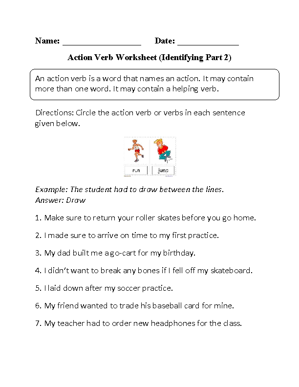 Verbs Worksheets – Vivid Verbs Worksheet