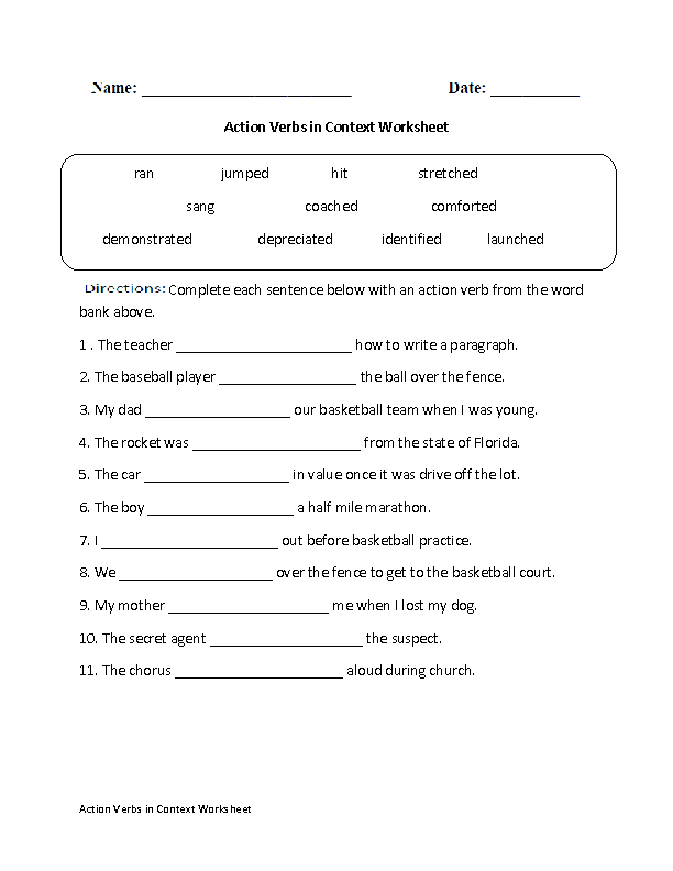 Action Verbs in Context Worksheet