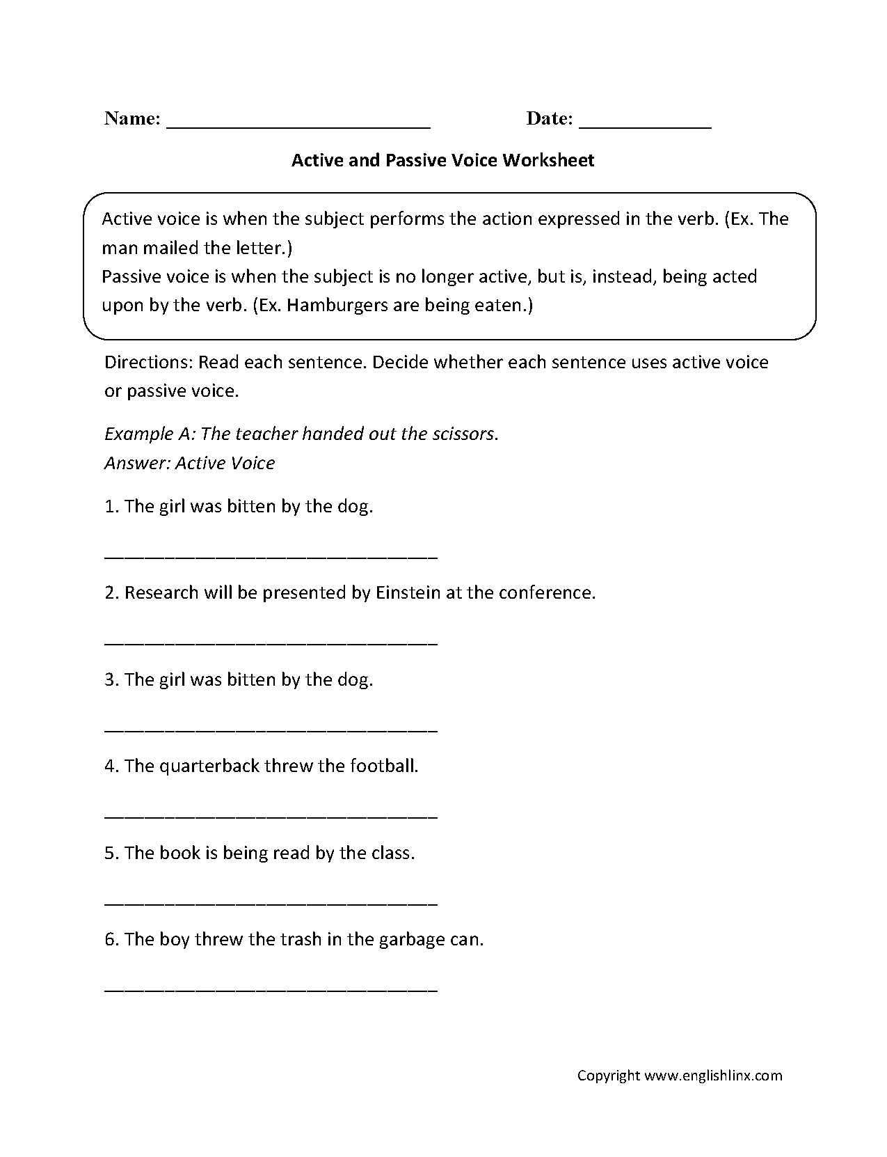 Active Passive Voice on 6 Simple Present Exercises