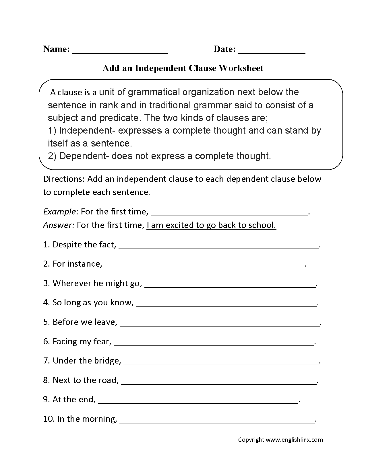 Worksheets Independent And Dependent Clauses Worksheets parts of a sentence worksheets clause add independent worksheets