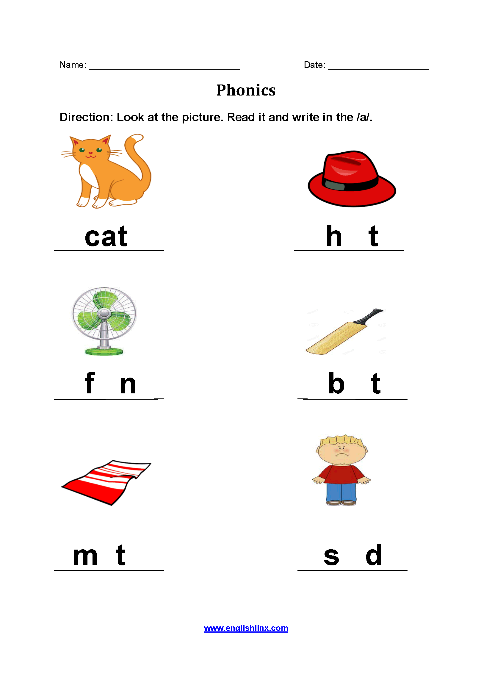 Adding A Phonics Worksheets