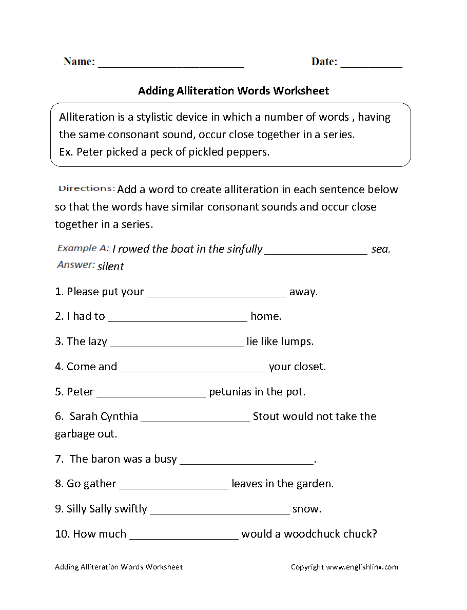 Worksheet 6th Grade Work Sheets englishlinx com alliteration worksheets grades 6 12 worksheets
