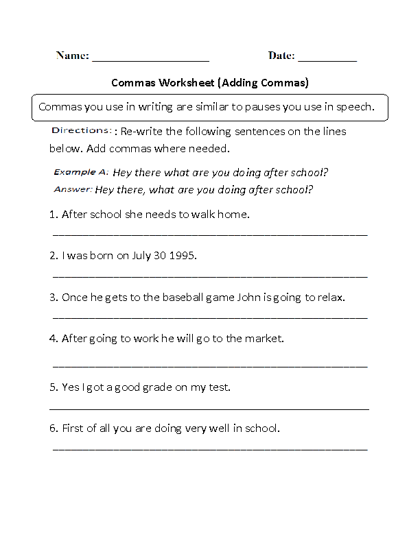 Englishlinx.com | Commas Worksheets