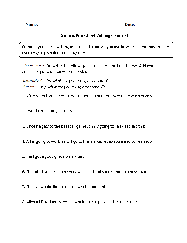 Adding Commas Worksheets Part 2
