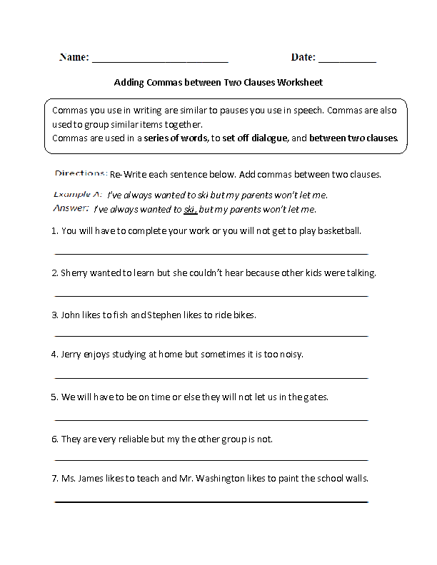 Commas Worksheets | Adding Commas between Two Clauses Worksheet