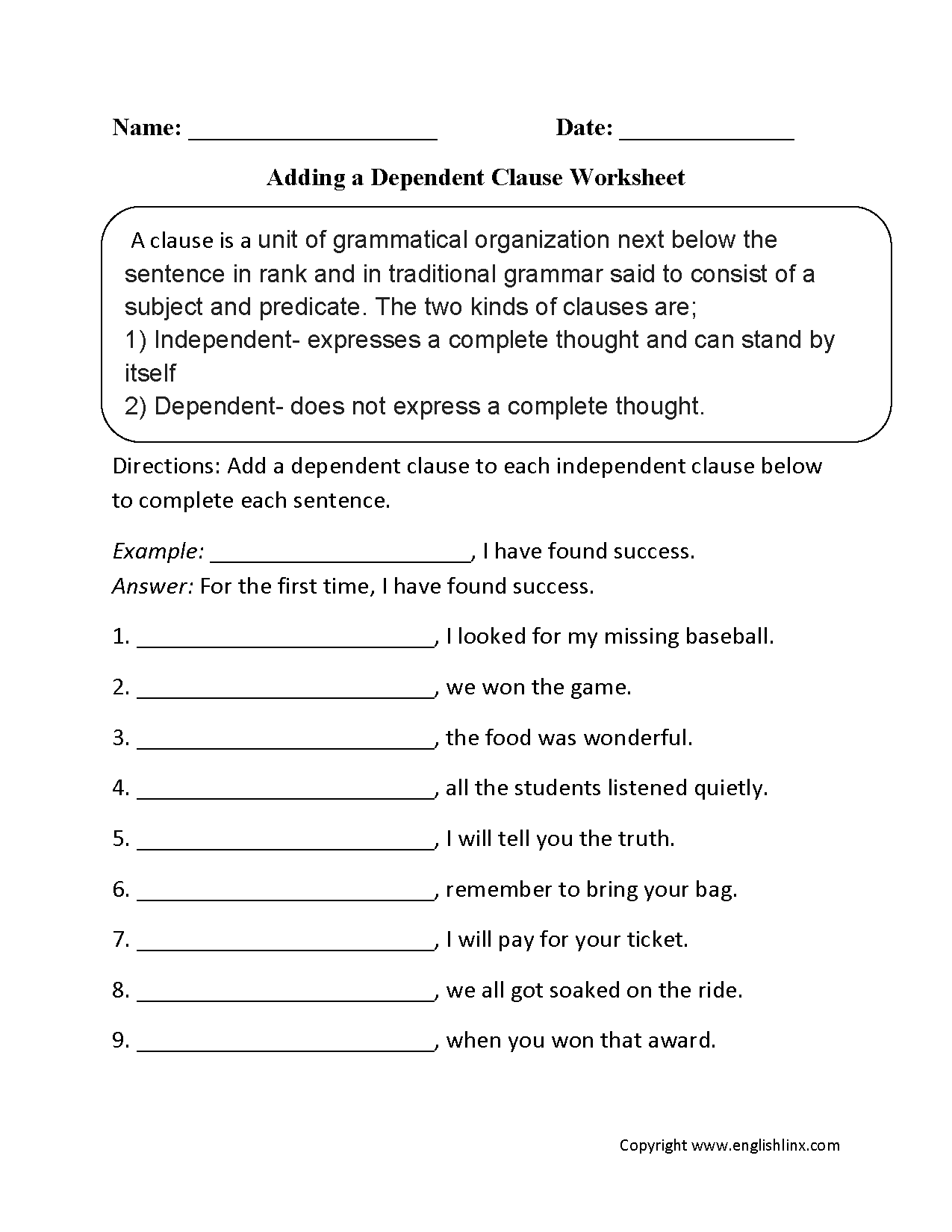 Worksheet Independent And Dependent Clauses Worksheet englishlinx com clauses worksheets adding a dependent clause worksheet