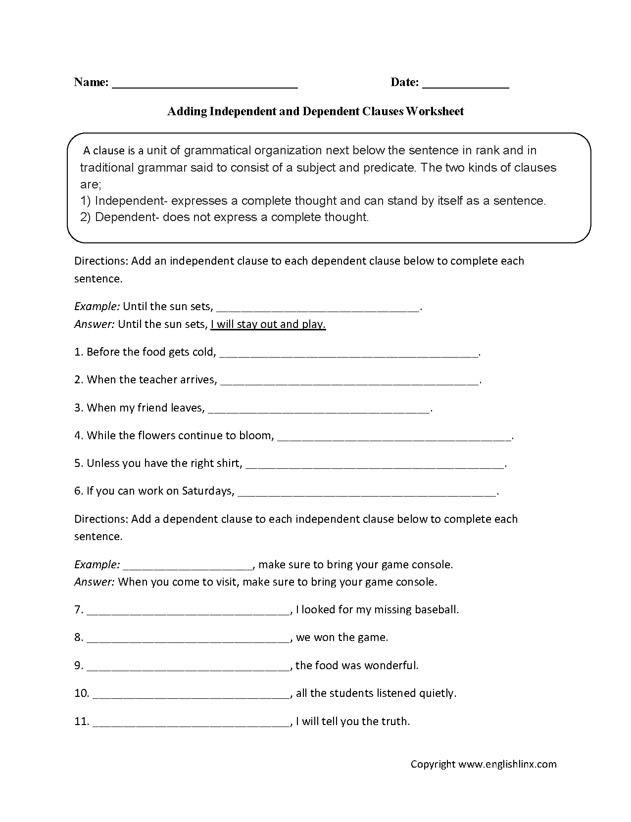 Free Worksheet Independent And Dependent Clauses Worksheets englishlinx com clauses worksheets adding dependent and independent worksheet