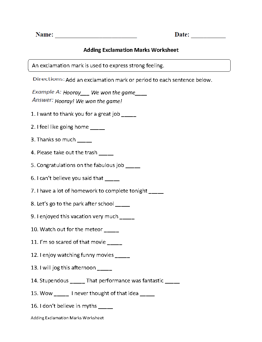 Workbooks worksheets on : Englishlinx.com | Exclamation Marks Worksheets