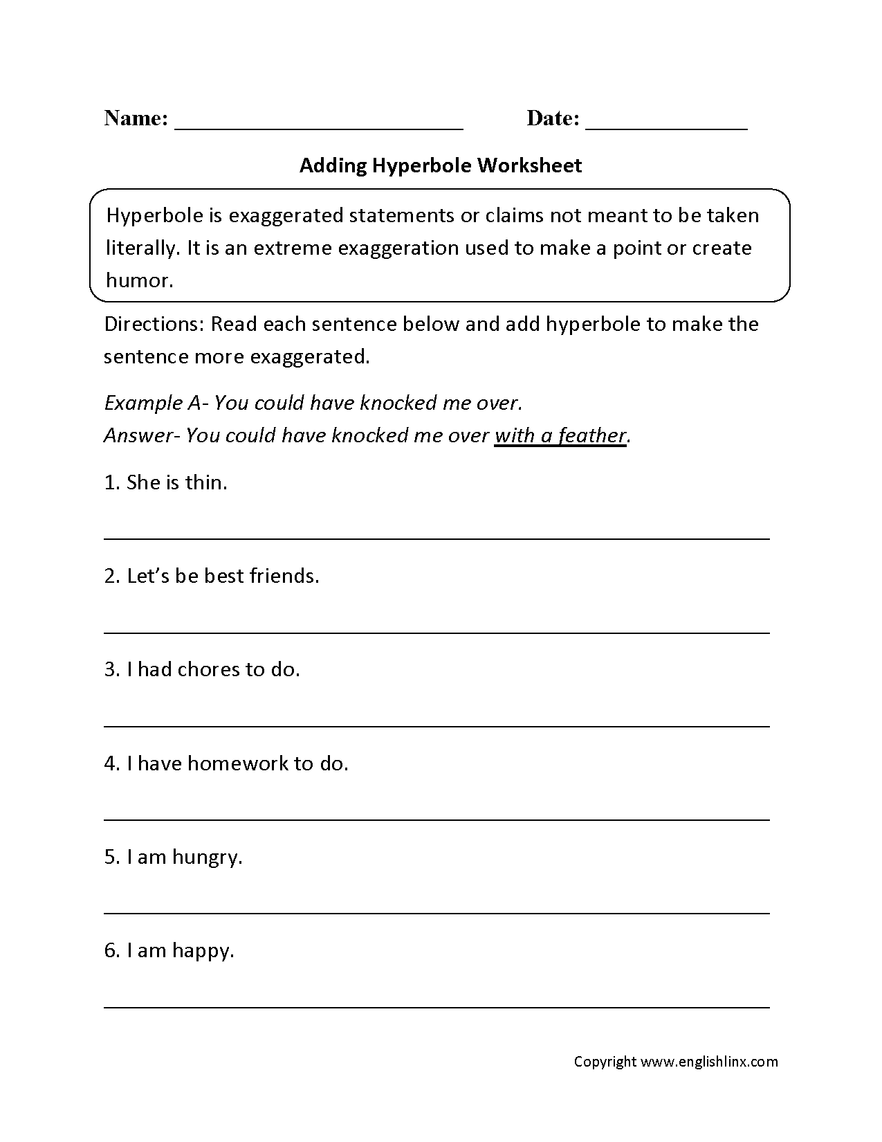 worksheet Worksheets For 5 Grade figurative language worksheets hyperbole worksheets