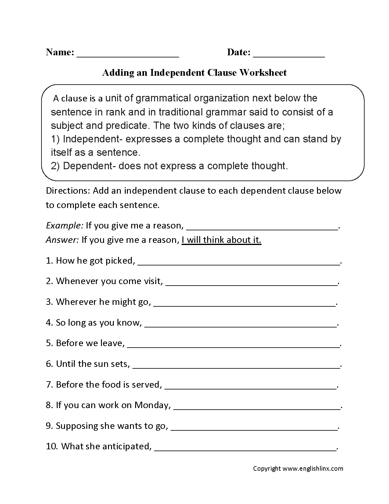 Clauses Worksheets | Adding an Independent Clause Worksheet