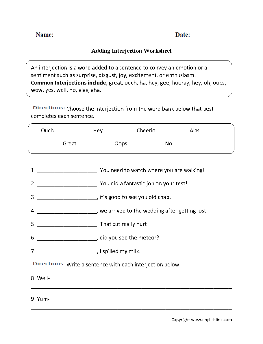 Parts Speech Worksheets | Interjection Worksheets