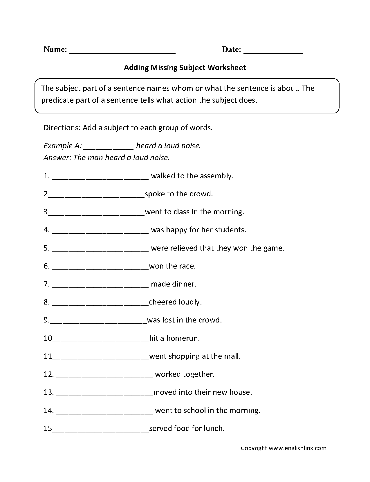 worksheet Parts Of A Sentence Worksheet parts of a sentence worksheets subject and predicate worksheet