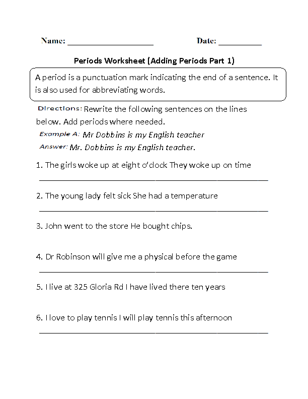 Adding Periods Worksheet Part 1