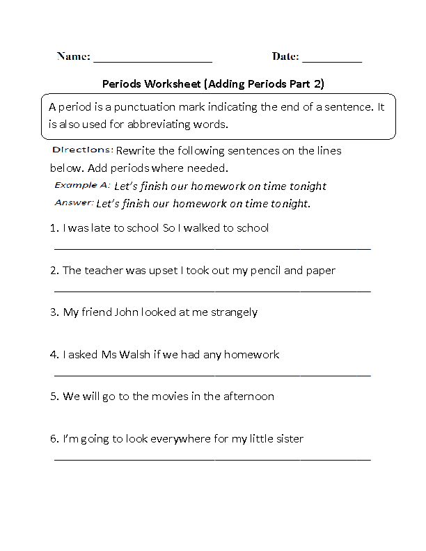 Adding Periods Worksheet Part 2