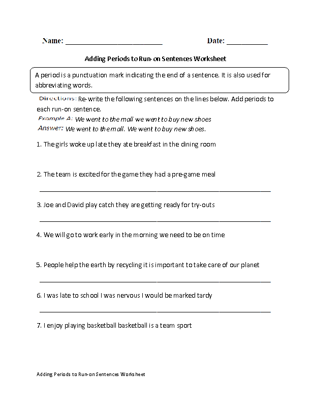 Adding Periods to Run-on Sentences Worksheet