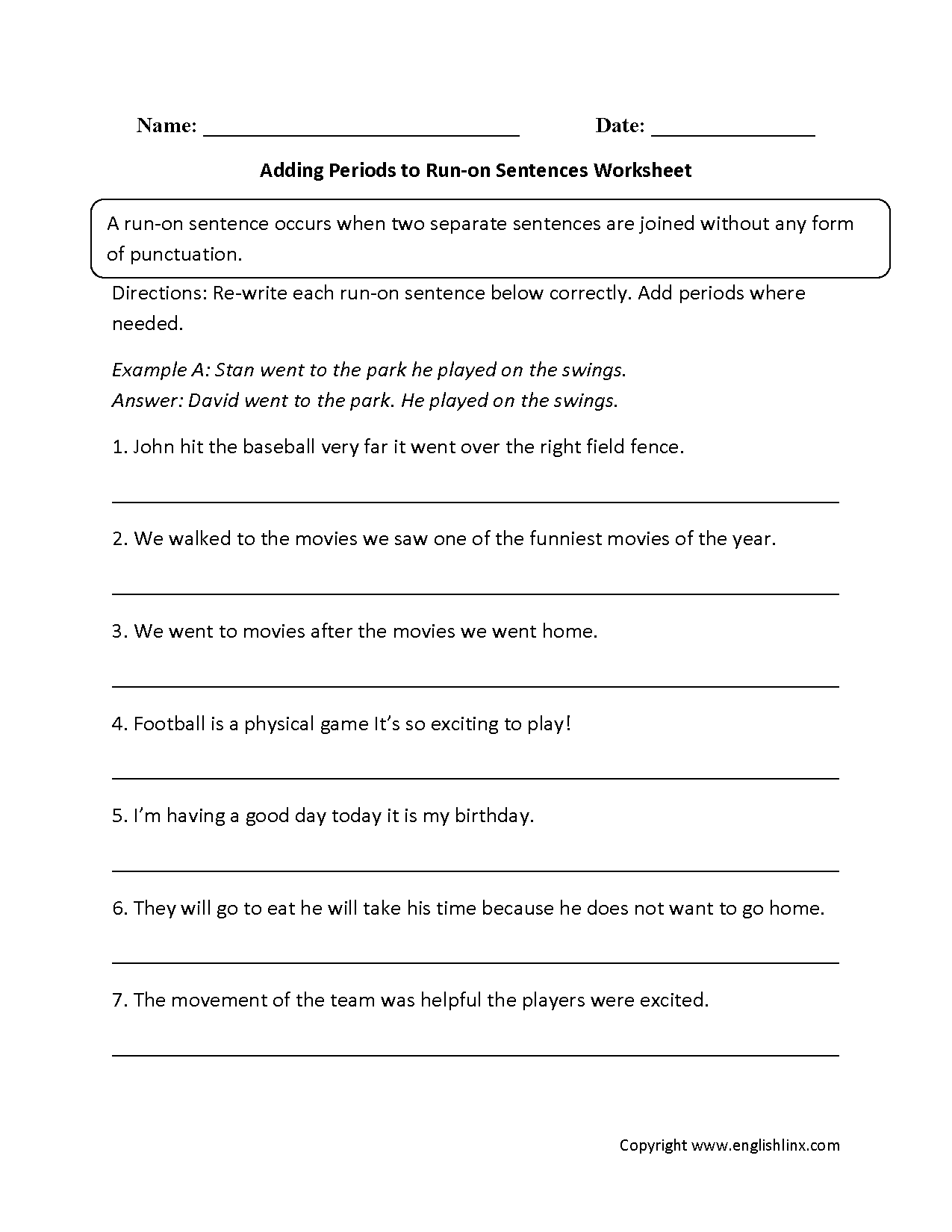 Sentences Worksheets – Run on Sentences Worksheet
