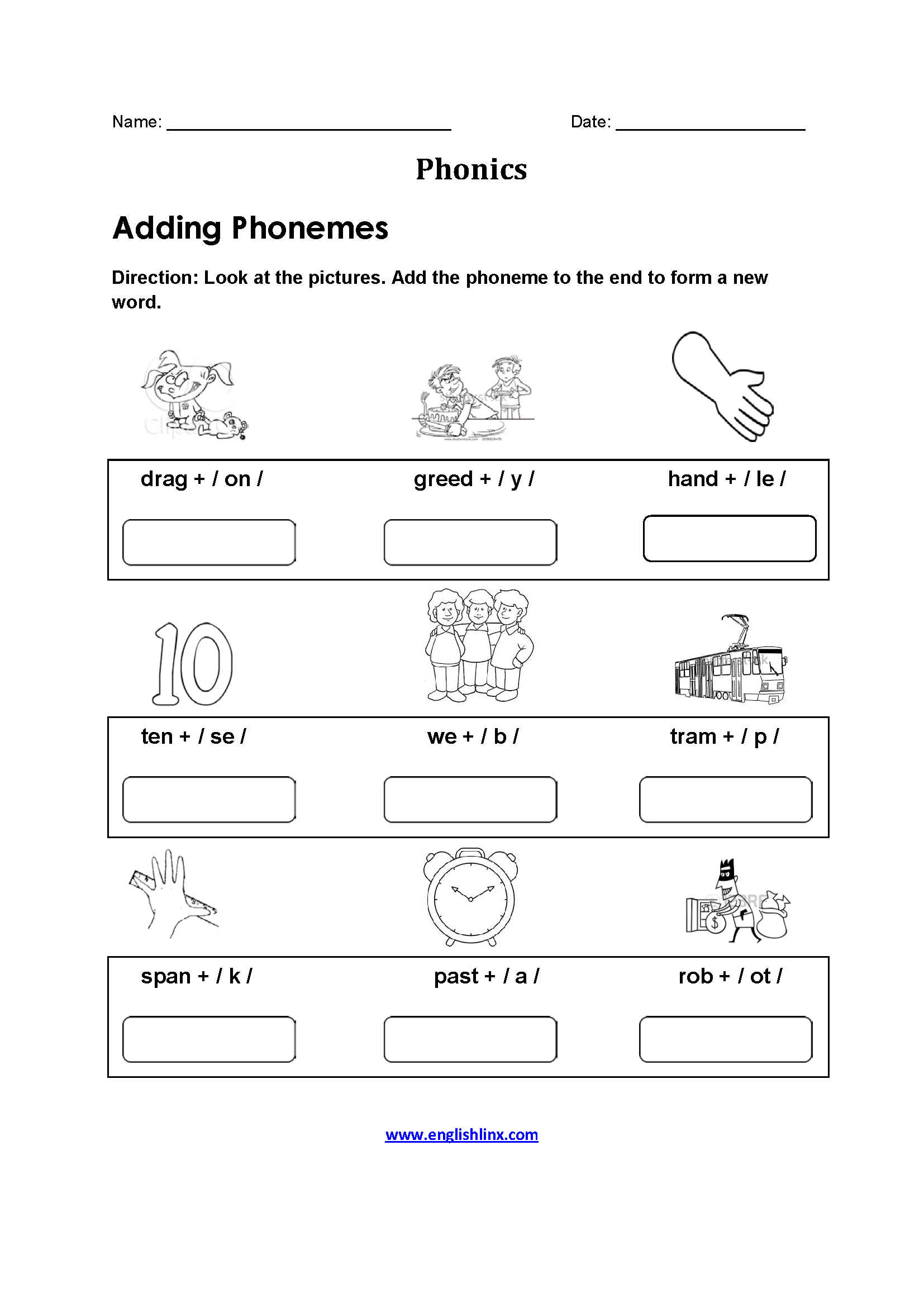 Adding Phonemes Phonics Worksheets