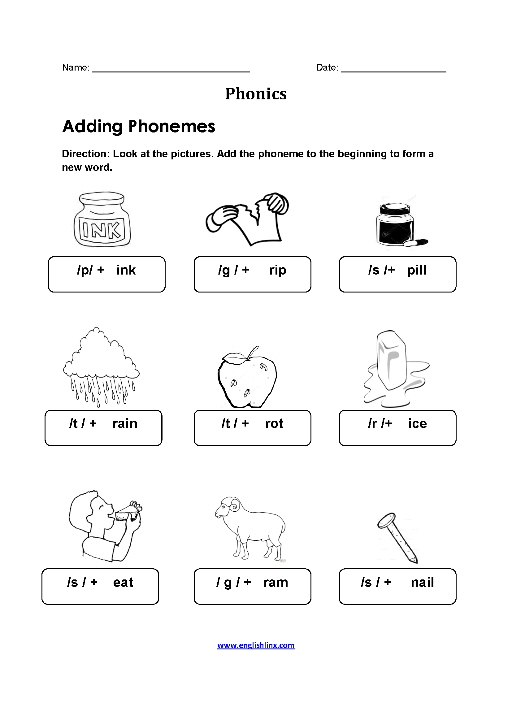 Adding Phonemes Pictures Phonics Worksheets