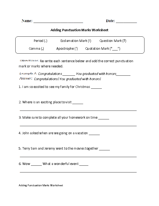 Printables Punctuation Worksheet englishlinx com punctuation worksheets adding marks worksheet