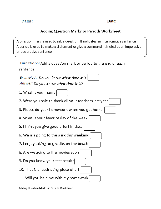 Adding Question Marks or Periods Worksheet
