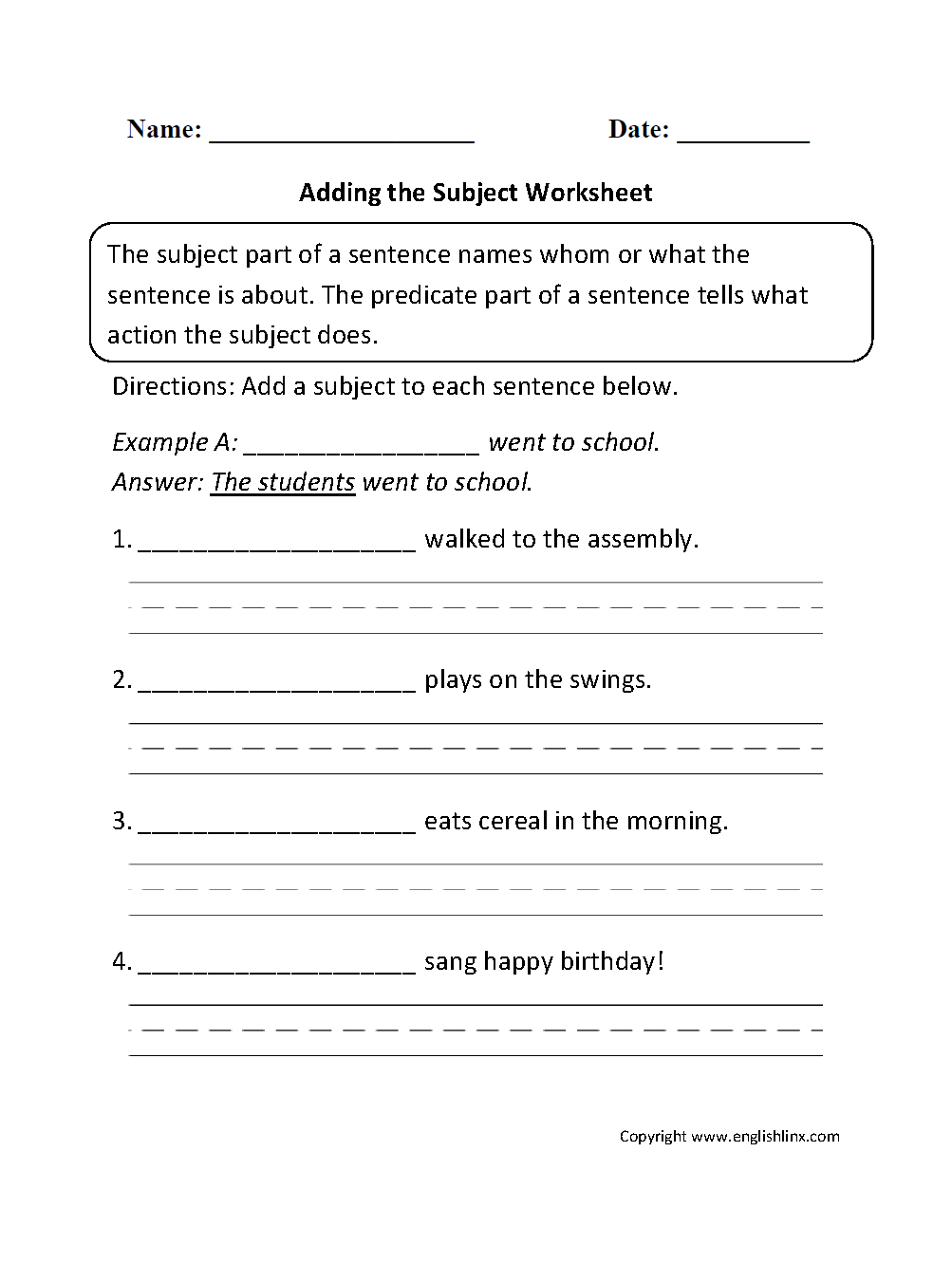 Adding-Subject-1  Rd Grade English Worksheets Subject Predicate on for grade 6, middle school answer, super teacher worksheets, 5th grade, kumon simple sentences, for kids,