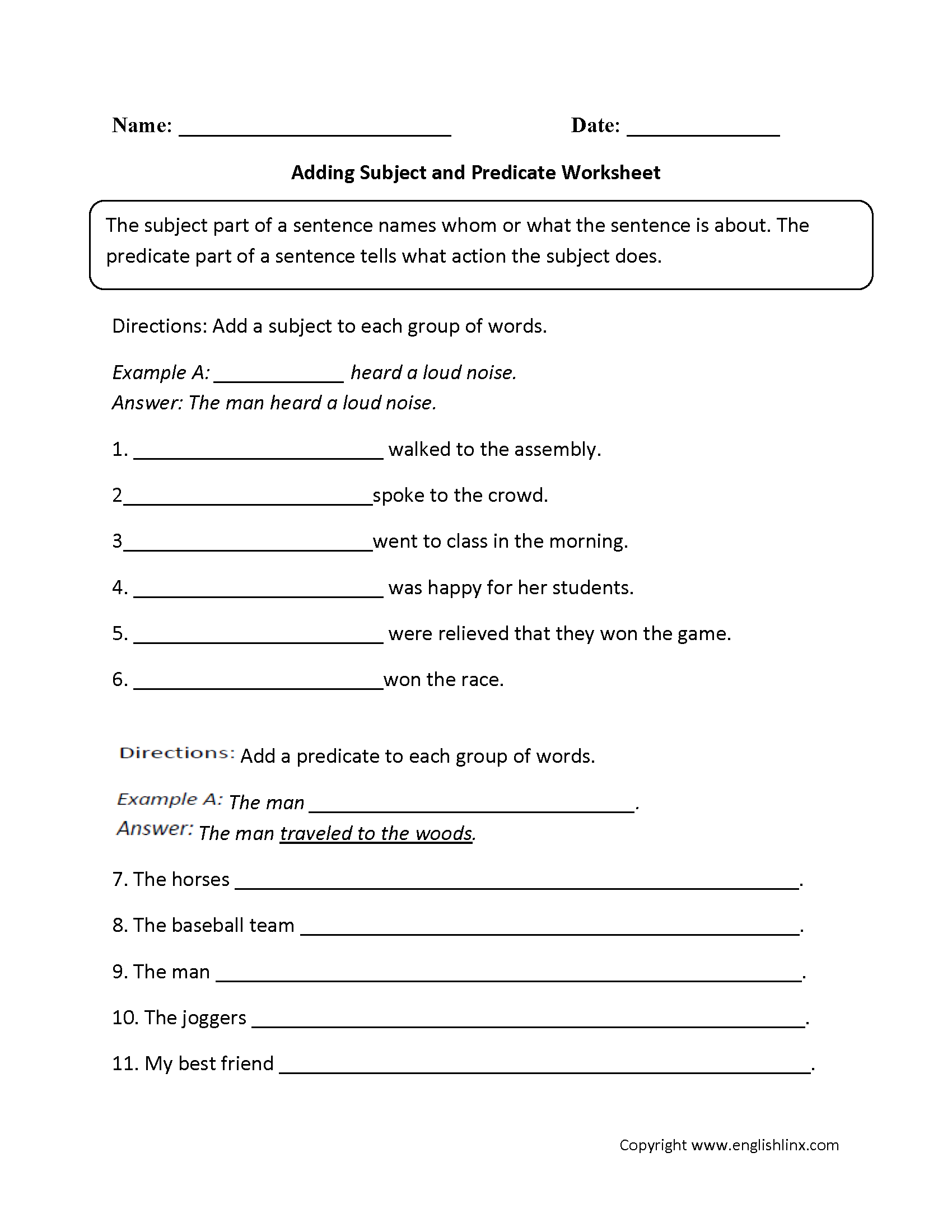 Worksheets 6th Grade English Worksheets parts of a sentence worksheets subject and predicate adding predicateworksheet